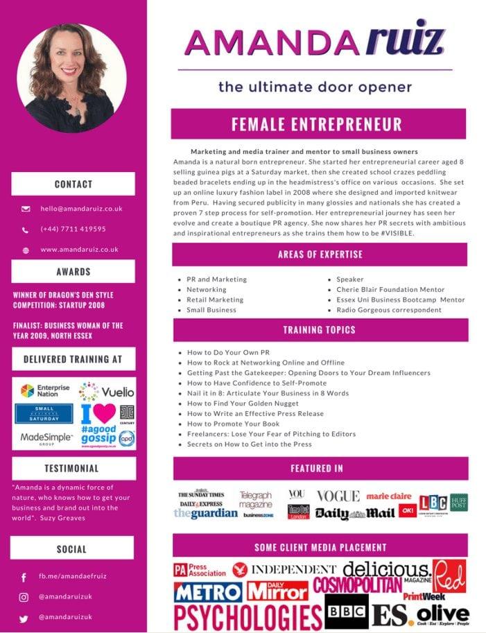 Amanda Ruiz press kit Female Entrepreneur